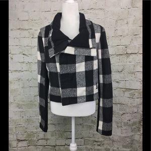 Miss Me Plaid Cowl Neck Zip Crop Utility Jacket